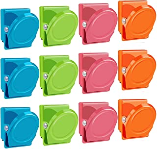 BamLue Magnetic Clips, 12 Pieces Magnetic Metal Clips, Refrigerator Whiteboard Wall Fridge Magnetic Memo Note Clips Magnets Metal Clip-Multiclolor
