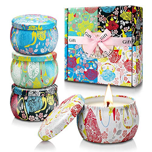 Scented Candles Gift Set, Soy Wax Portable Travel Tin Candle for Women Christmas Gifts Mother's Day...