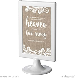 Andaz Press Burlap Lace Print Wedding Collection, Personalized Framed Party Signs, We Know You Would Be Here Today if Heaven Weren't So Far Away Memorial Sign, 4x6-inch, 1-Pack, Custom Made Any Name
