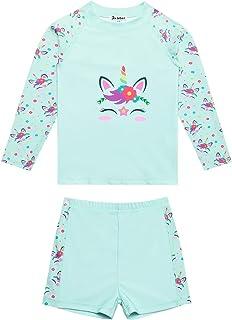 Jxstar Girls Rash Guard 2-Piece Unicorn/Mermaid Swimsuits Swimwear UPF 50+ UV