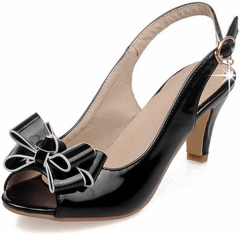 AmoonyFashion Women's Kitten-Heels Patent Leather Solid Buckle Peep Toe Sandals