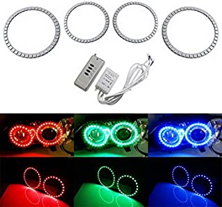 iJDMTOY Multi-Color 180-SMD RGB LED Angel Eyes Halo Ring Lighting Kit w/Remote Control for 2007-2011 BMW E92 E93 328i 335i M3 Coupe or Convertible