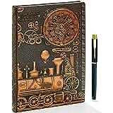 Cuaderno de piel 3D, estilo vintage, A5, a rayas, en relieve, diario de viaje, diario, diario, diario, diario personal, cuaderno de notas, cuaderno de tapa dura, regalo para hombres, mujeres y niños