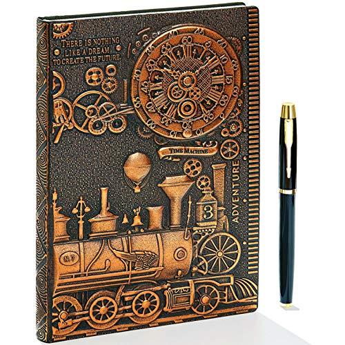3D Vintage Leder Notizbuch,A5 Liniert, Geprägte Reisetagebuch Tagebuch Journal Buch Personal Organizer Notizheft Hardcover Business Schule Geschenk für Männer Frauen Kinder (Zug(RedBronze)