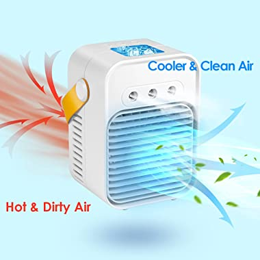 Seven-first Portable Air Conditioner, Rechargeable Quiet USB Evaporative Mini Air Conditioner Fan with 3 Speeds Mode LED Ligh