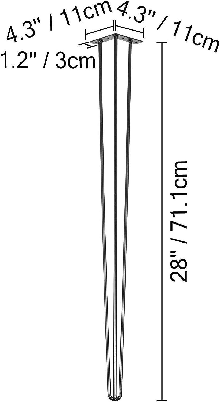 76,2 VEVOR Patas para Mesas de Acero al Carbono Conjunto de Patas de Mesa Altura de Pata 41-102 cm Patas de Mesa con Capacidad de Carga 100 kg Patas para Muebles con 4 Pies de Goma