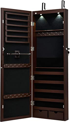 2021 Giantex Wall/Door Mounted Jewelry Armoire Organizer with 2 LED Lights, Lockable Height Adjustable Jewelry online Cabinet with Full Length Mirror, Large Capacity Dressing Makeup Jewelry Mirror Storage discount (Brown) online sale