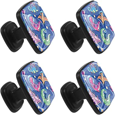 Square Cabinet Knobs Funny Cartoon Dinosaur Astronauts Kitchen Pulls Cabinet Hardware Cupboard Drawer Knobs,Pack of 4