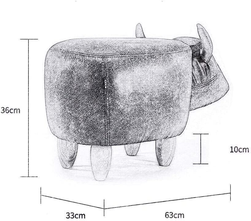 YUMUO Animal Repose-Pieds en Bois Pouf Repose-Pied Tabouret Coussin Rembourré Repose-Pied Pouf Tabouret pour Enfants ou Adultes F0106 (Couleur: Vache Rouge) 5