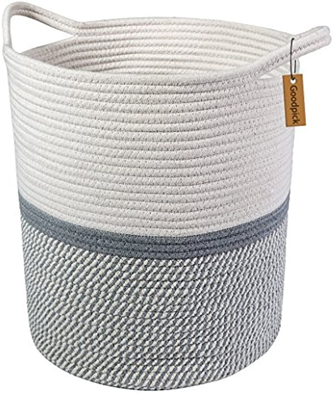 Goodpick Large Cotton Rope Basket 14 2 X 13 4 X 16 2 Baby Laundry Basket Tall Woven Basket Blanket Nursery Bin