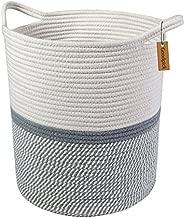 Goodpick Large Cotton Rope Basket 14.2'' x 13.4'' x 16.2'' -Baby Laundry Basket Tall Woven Basket Blanket Nursery Bin