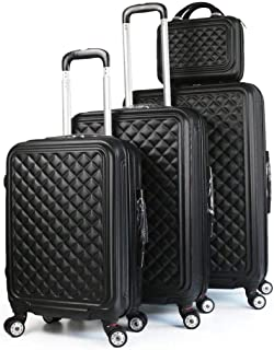 Travel Luggage Trolley bags 3 Pieces Set and 1 Piece Beauty Case, Black