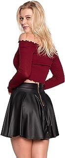 Cemi Ceri Women's J2 Love Faux Leather Back Gold Zip Mini Skater Skirt