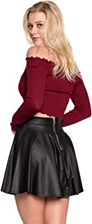 Women's J2 Love Faux Leather Back Gold Zip Mini Skater Skirt