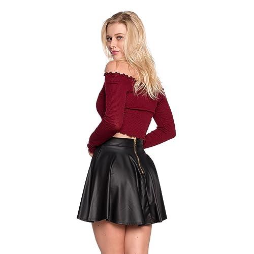 5b9a5ced2e1b Cemi Ceri Women s J2 Love Faux Leather Back Gold Zip Mini Skater Skirt