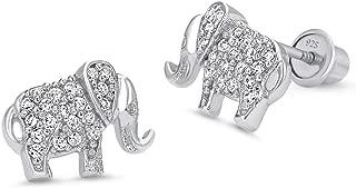 925 Sterling Silver Rhodium Plated Elephant Cubic Zirconia Screwback Baby Girls Earrings