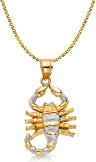 14K Two Tone Gold Scorpion Charm Pendant with 1.7mm Flat Open Wheat Chain Necklace