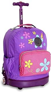 子供用パープルピンクフローラルパターンRollingバックパック、美しいAll Over Pretty花印刷スーツケース、Girls School Duffel with Wheels、Wheelingスクールバッグ、軽量Softsided、ファッショナブルな