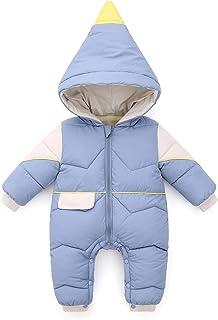 Minizone Baby Overall mit Kapuze Winter Strampler Jungen Mädchen Schneeanzug Baumwolle Jumpsuit Outfits Warm Langarm Geschenk 0-18 Monate