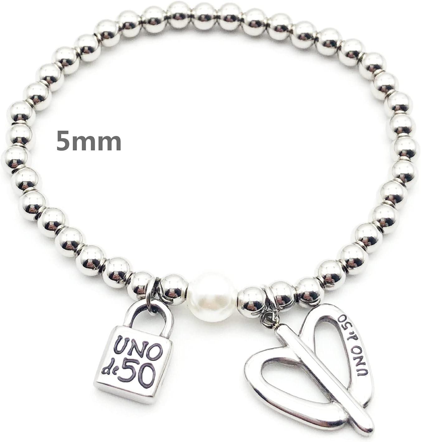 Jewelry price Lock Key Bracelet Over item handling Stainless Ball Pearl Round Steel