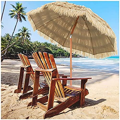 Altura Regulable Sombrilla de Paja, 5.9ft/1.8m Inclinación 45° Sombrilla de Paja de Playa Tropical Hawaiana, Adecuado para Patio Jardín Sombrilla