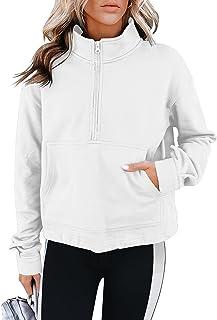 PRETTODAY Women's Casual Half Zip Sweatshirts Long Sleeve Solid Lapel Sweatshirts Loose Pullover Tops with Pocket