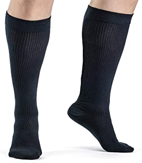 Medical Grade Plus Size Wide Calf and Ankle Gradient Compression Socks Men 20-30 mmHg or Women Unisex Organic Cotton Compr...
