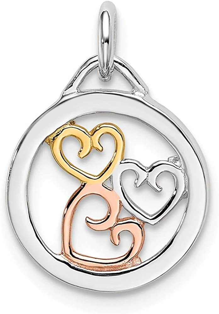 Ultra-Cheap Deals Solid 925 Ranking TOP13 Sterling Silver Rose Hearts and Gold-tone Pendant Char
