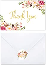 60 Thank You Cards with White Envelopes and Floral Stickers - Gold Foil watercolor Boho Floral - Perfect For Wedding, Baby shower, Bridal Shower-3.75'' x 5'' blank on inside