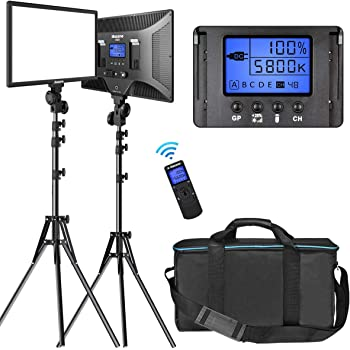 "LED Video Lighting Kit with Wireless Remote, Dazzne D50(2 Packs) Dimmable Bi-Color 15.4"" LED Panel Light Stand, 45W 3000K-8000K CRI>96 Studio Light for Video Shooting Live Stream Photography YouTube"