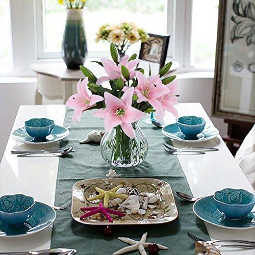 MEIWO Künstliche Blumen, 5 Stück Real Touch Latex Künstliche Lilien Blumen in Vasen Hochzeit Sträuße/Home Dekor/Party/Graves Arrangement(Rosa) - 8