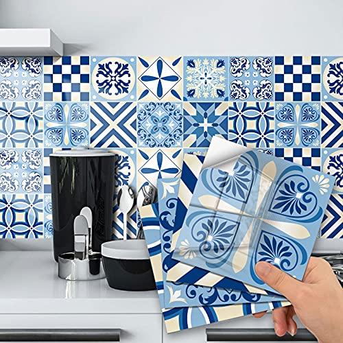 20 Pegatinas para Azulejos de Pared, Adhesivo de Pared, Pegatinas de Baldosas, Calcomanías Autoadhesivas de Vinilo para Cocina,Revestimiento de Paredes - Cenefas Azulejos Adhesivas