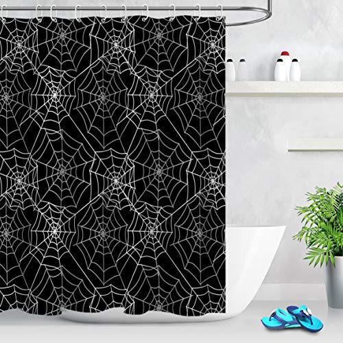 LB Halloween Duschvorhang Spinnennetz-Dekor schwarz grau Badezimmer Vorhang mit Haken 152,4 x 182,9 cm wasserdicht Polyester Stoff Badezimmer Dekorationen 10 Löcher