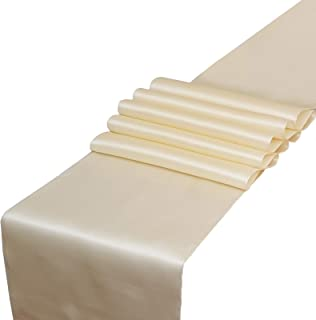 Parfair Dessin Satin Table Runners 12 x 108 inch for Wedding Banquet Decoration, Bright Silk and Smooth Fabric Party Table Runners (Pack of 10, Ivory)