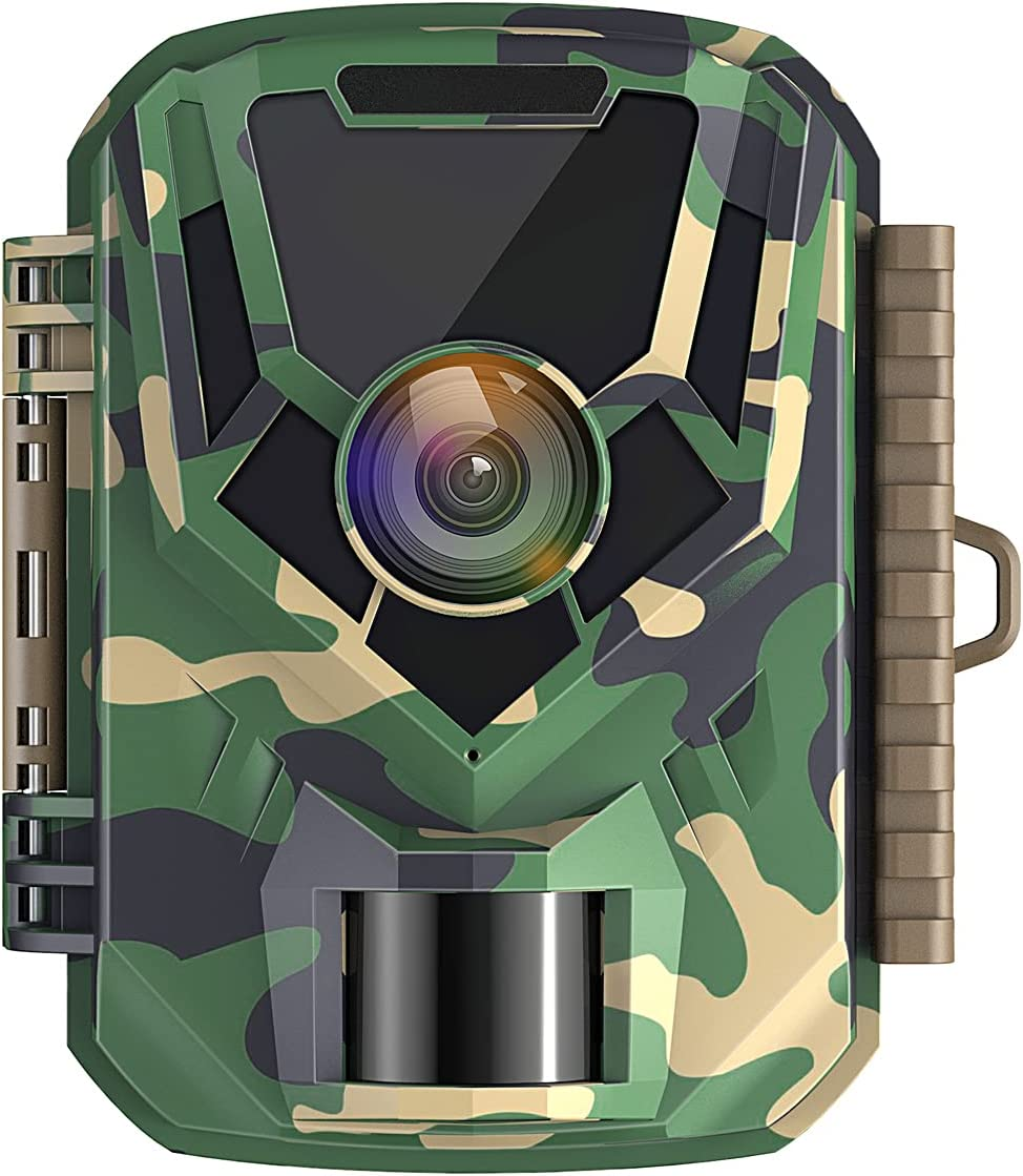 Mini Wildlife Camera 16MP 1080p Waterproof IP56 Hunting Camera with 2 Inch LCD Screen Night Vision Small Trail Camera with 120° Wide Angle Lens for Observation and Home Security