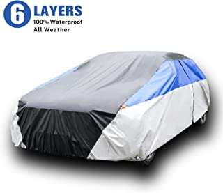 KAMCHAU 6 Layers Waterproof Car Cover,All Weather for Automobiles UV Protection Snowproof Outdoor Full Cover with Cotton Z...