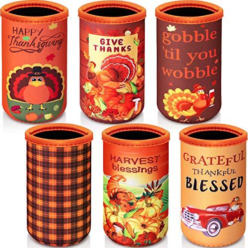 6 piezas Happy Thanksgiving Slim Can Cooler mangas, 12 onzas de neopreno flaco Coolie aisladores de cerveza puede enfriar cubiertas de Acción de Gracias Otoño decoraciones delgadas para latas de latas