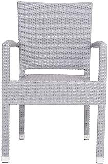 Safavieh PAT4004C-SET2 Outdoor Collection Kelda Grey Stacking Arm Chair