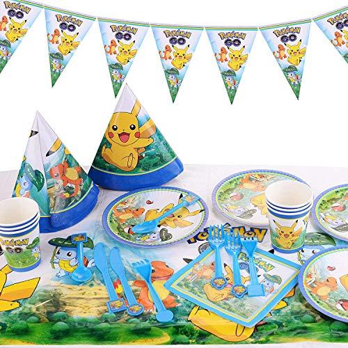 Colmanda Pokemon Kindergeburtstag, 78 Stück Pikachu Kindergeburtstag Party Dekoration Pokemon Thema Cartoon Party Set per Kinder Geburtstag Party Requisiten Partyzubehör