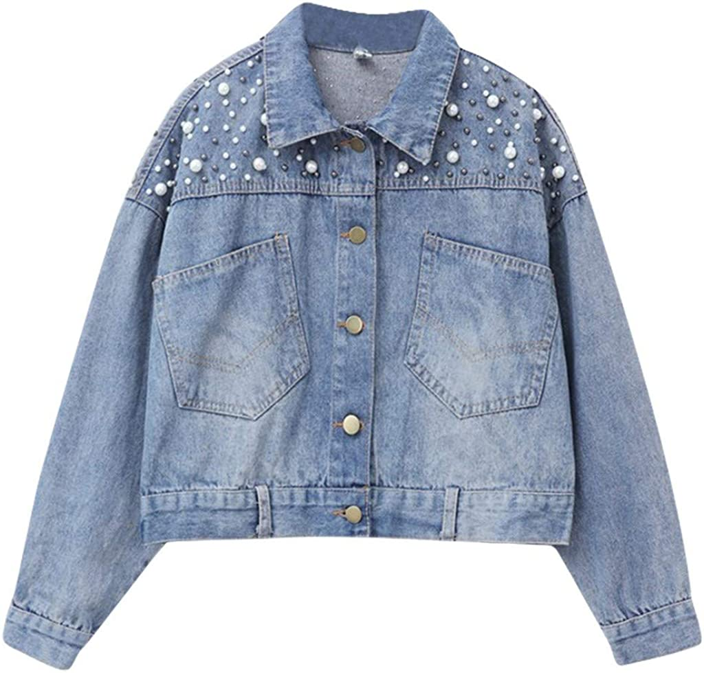Women's Embroidered Pearl Short Denim Jacket Coat Oversized Loose Vintage Button Down Distressed Washed Cropped Jean Coat