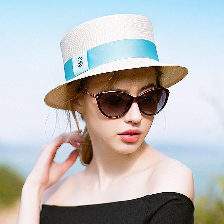 LIANGJUN Sun Hats Women's Cellulose Fiber Hand Weaving Flat Top Cap Summer Seaside Travel, White