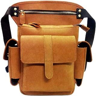 Mens Bag Motorcycle Locomotive Oil Wax Leather Waist Bag, Riding Leg Bag, Wear-resistant, Feel Comfortable, Large Capacity Reasonable Layout,yellow American Retro Camera Bag, High capacity