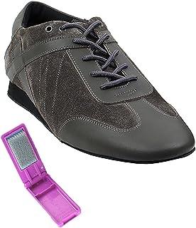 Very Fine Ballroom Latin Tango Salsa Dance Shoes for Men SERO106BBX Flate Heel + Foldable Brush Bundle