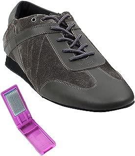 Very Fine Ballroom Latin Tango Salsa Dance Shoes for Men SERO106BBX Flate Heel + Foldable Brush Bundle - Grey Leather-Grey Suede - 10.5