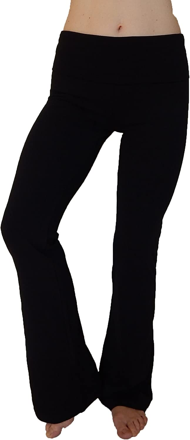 N 365 Women's Cotton Spandex Yoga Pants With Flare Leg and Fold Down WaistBlack