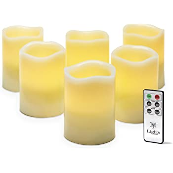 Flickering Flameless Candles with Remote 3x4 Inch LED Pillar Candles Set of