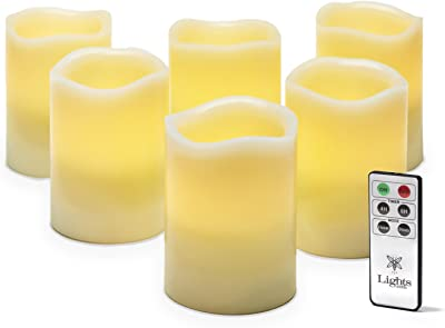 Flameless Pillar Candles with Remote - 3x4 Inch LED Candle, Ivory Wax, Unscented, Spring / Easter Decor, Melted Edge, Flickering Warm White Light, Batteries Included, Set of 6