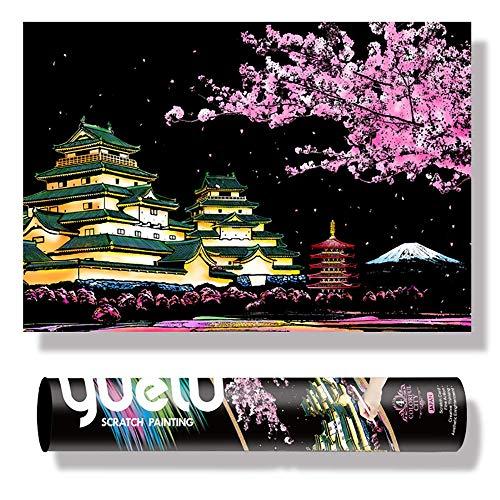 75 * 52 Cm Pintura De Arco Iris del Reel Grande - Ciudad Antigua China, Pintura Doodle Scratch Toys, Kits De Artesanía con 4 Herramientas,2 pcs