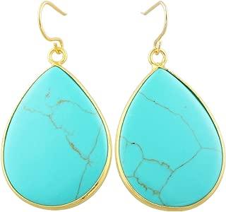 Crystal Stone Dangle Hook Earrings Waterdrop Gold Plated