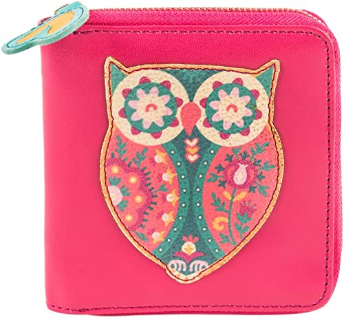 Floral Owl Applique Mini Wallet Pink